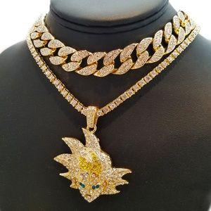 "SON GOKU pendant w/ 18"" Full Iced Choker Chain set"